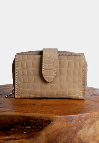 ACCORDION CARD WALLET [CROC BEIGE]